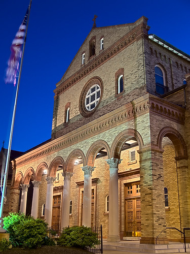 Our Lady of Sorrows Roman Catholic Church, in Saint Louis, Missouri, USA - porch at dusk 2