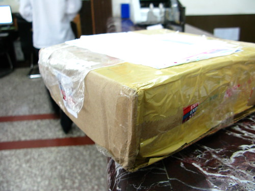 Package waiting for me at the hotel reception in Xián, Shaanxi Province, China