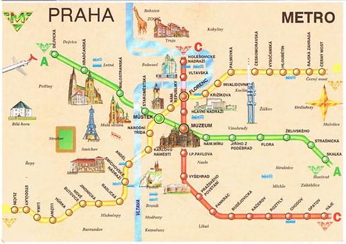 Prague Metro Map Postcard A Photo On Flickriver