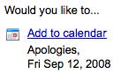 "Add to calendar ""apologies"""