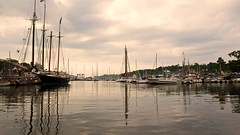 Camden Harbor (Timothy Valentine) Tags: travel usa reflection water boats day cloudy 169 camdenme 0708 dlux3
