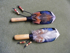2 smudge feather fans (notdmoma) Tags: fan duck pheasant handmade prayer feathers feather smudge craft hobby handcrafted mallard pagan wiccan smudging