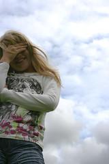 light my sky (Charmed*) Tags: sky girl smile clouds kid child himmel wolken kind blond lachen mdchen lcheln