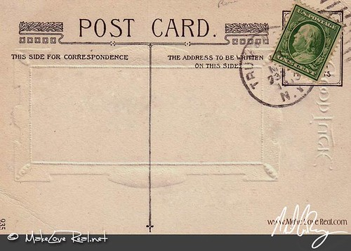 Vintage 1941 authentic antique postcard back design