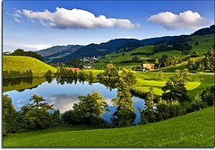 Sweetzerland (Nathan Bergeron Photography) Tags: lake clouds reflections landscape geotagged switzerland countryside interestingness europe suisse zurich bluesky zrich explored yearinfrance thegreatshooter geo:lat=47266183 geo:lon=851612
