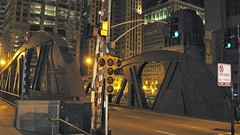 Chicago's North Clark Street bridge at midnight. Chicago Illinois. September 2008.