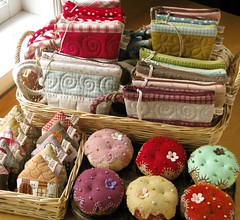 Quilted Crafts (PatchworkPottery) Tags: house handmade sewing crafts tape fabric cupcake pouch quilted pincushion patchwork measure applique
