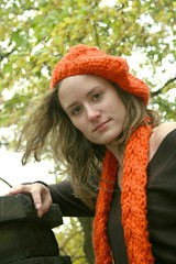 Scarf and Hat (bethanykphotography) Tags: park orange fall hat fashion stone wall scarf sweater pittsburgh windy earthy shenley