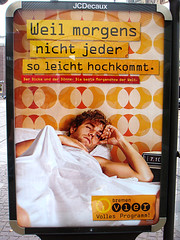 Die Erektion  (HschenliebeSchweinchen) Tags: cute up bavaria funny post erektion humor busstop advertisement bremen erection morgen eruption morningwood