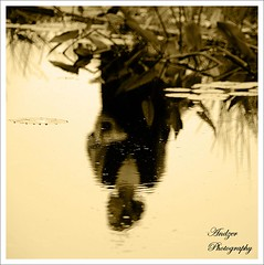 Pond's Fairy (andzer) Tags: woman white black flower reflection sepia lady hair pond femme profile scout andreas explore greece fairy macedonia thessaloniki bun myfaves salonica  zervas  andzer   wwwandzergr