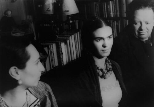 Frida Kahlo de Rivera, Diego Rivera and Malú Block by Carl Van Vechten, 1932