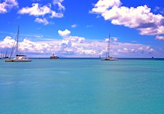 Caribbean Sea 2 (CristalArt) Tags: blue sea sky clouds photoshop boats sailing ships horizon sint netherland caribbean maarten hdr antilles