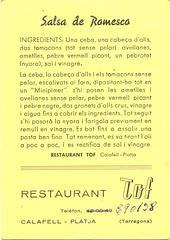 Receta de salsa Romesco del Restaurant Tof de Calafell - reverso
