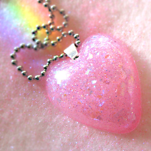 love's baby soft the necklace pink resin heart necklace