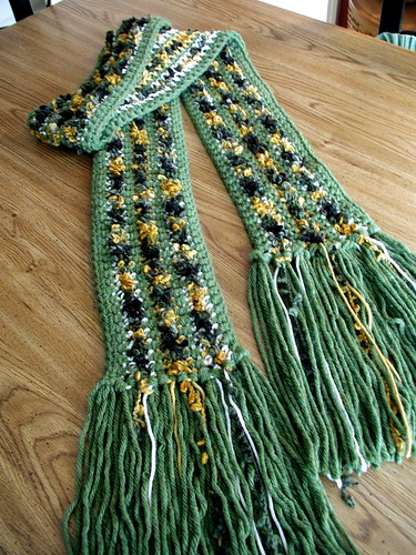 Green Crocheted Scarf