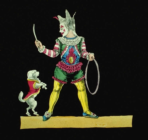 Magic Lantern Slide of a dog jumping through a hoop.