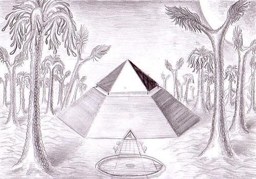 Piramida de pe Marte in trecutul indepartat, desen