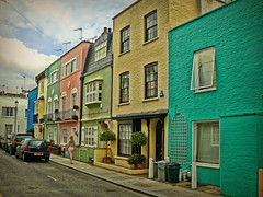 Chelsea pastels (maistora) Tags: street old city blue windows england sky house colour building brick green london cars yellow architecture walking alley chelsea britain pastel capital explore lane figure ping maistora cloudswoman explored08dec08