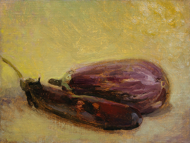 Eggplants, in progress 1
