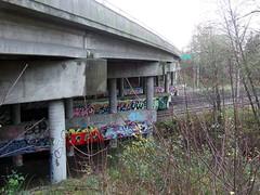 BLU was here (~ Blu ~) Tags: bridge grafitti blu railway burnaby guessed guesswherevancouver galardi pointirisrowley pointirirrowley