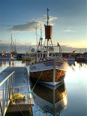 Húsavik harbor (wili_hybrid) Tags: sea nature clouds painting outside outdoors island harbor boat photo iceland still sailing exterior photos harbour outdoor north picture pic roadtrip nordic scandinavia hdr husavik scandinavian whalewatching