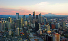 Seattle downtown and Mt.Rainier from Space Needle (WorldofArun) Tags: world ocean seattle city light sunset shadow urban mountain art history architecture night skyscraper wonder lights evening washington nikon downtown cityscape pacific zoom scenic neighborhood mount disk needle rainier sound belltown planet spaceneedle pugetsound flyingsaucer monorail elliottbay 2008 westcoast volcanic cascade 1962 i90 bellevue mountbaker observationdeck cindercone worldfair cascaderange stratovolcano icecap lavadome seattlemonorail 18200mm shieldvolcano cascadevolcanoes pacificringoffire nikond40x yenumula cascadevolcanicarc worldofarun hoveringdisk cascadearc arunyenumula