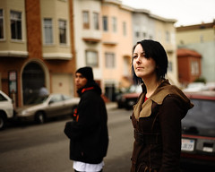 Getting checked out (Dustin Diaz) Tags: sanfrancisco city portrait nikon bokeh streetphotography missiondistrict nikkor 50mmf18d bk dustindiazcom erincaton d700 dedfolio
