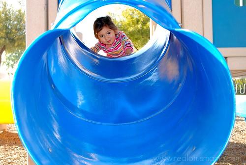 blue tube slide