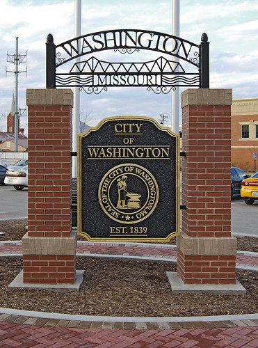 Downtown Washington, Missouri, USA - sign of the City of Washington 1839