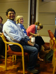 Mario Herrero, Polly Ericksen and Wiebke Foerch prepare to listen to Andy Jarvis' seminar on CCAFS