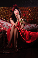 [Free Image] People, Women, Asian Women, Rose, Dress, People and Flowers, 201106302100