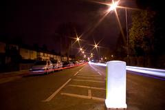 My road (Max Crowe) Tags: road street longexposure cars raw streetlights perspective lighttrails lamps bollard 1minuteexposure