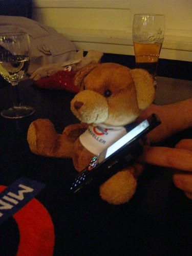 Our 'lucky' mascot on the phone