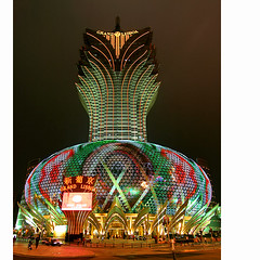 Grand Lisboa (Jeremy-G) Tags: street city red sky people building green cars yellow architecture canon gold lights hotel design colorful casino tokina macau 1224mm hdr subtle exposures 3x grandlisboa 400d