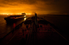Ships Passing at Night (OneEighteen) Tags: night marine ship houston maritime nautical containership pilot tanker gi galvestonbay shipchannel morganspoint