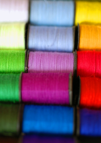 Colourful spools of cotton