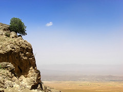 lonely (Alieh) Tags: blue cloud mountain tree nature landscape persian alone iran persia drought lonely iranian  esfahan isfahan         aliehs alieh             shahlolakmountain