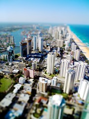Surfers Paradise Tiltshift (Erik K Veland) Tags: city art architecture lensbaby buildings idea model paradise cityscape arty skyscrapers creative fake optical australia illusion highrise qld queensland surfers hotels opticalillusion surfersparadise optics goldcoast q1 tiltshift faketiltshift