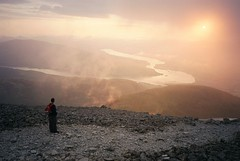 Awesome sunset at the summit of Ben Nevis (dark_dave25) Tags: orange cloud mist mountain dave walking fire scotland michael amazing team view ben smoke olympus steam climbing threepeaks bennevis anthony xa challenge 3peaks satra