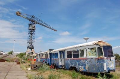 Crane at old trams