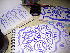 "Purple Haze - a mistake turned to inspiration! (Stephanie ""Biffybeans"" Smith) Tags: from inspiration hot cold classic fountain pen ink watercolor paper private happy haze purple accident journal pad reserve artists canson comes press fabriano mistakes biffybeans"