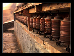 Prayer Wheels at Dusk by Michael Anderson (AndersonImages) Tags: world travel people digital religious michael asia locals earth traditional culture hasselblad anderson planet medium format lonely local activity circuit annapurna cultural traveler muktinath h2d