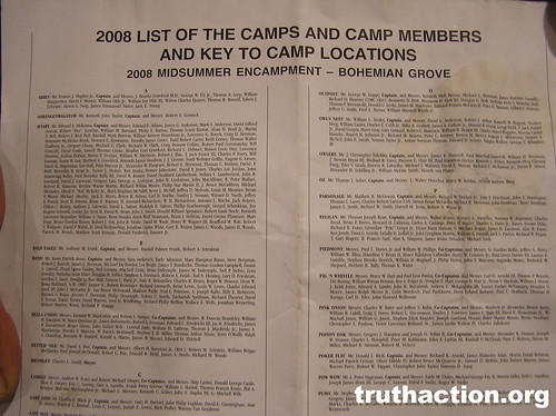 Bohemian Grove 2008 list of camps and members
