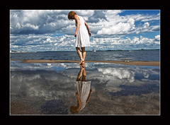 Beautiful You (~EvidencE~) Tags: blue summer sky reflection water clouds puddle reflecting nikon que lover lakeontario q evidence summerdress d80 abigfave superbmasterpiece 1on1reflectionsphotooftheweek 1on1reflectionsphotooftheweekaugust2008 miss~e