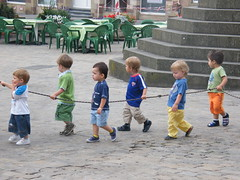 Safety above all! (KarolusLinus) Tags: city cute kids walking town kinderen rope safety luxemburg veiligheid schattig echternach stappen koord