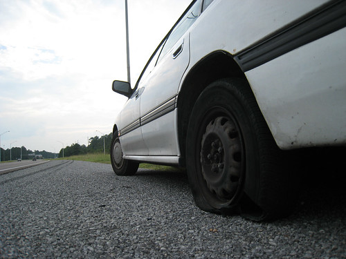 Flat tire outside Pascagoula.