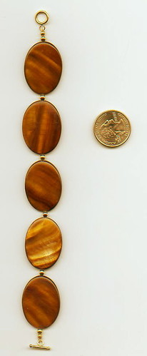 Brown Shell Ovals and Gold Bracelet