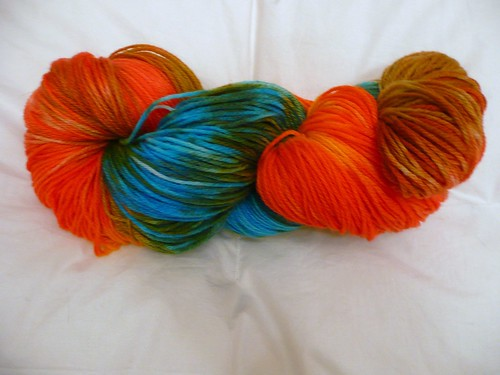 My dyed yarn, dry and twisted in hank