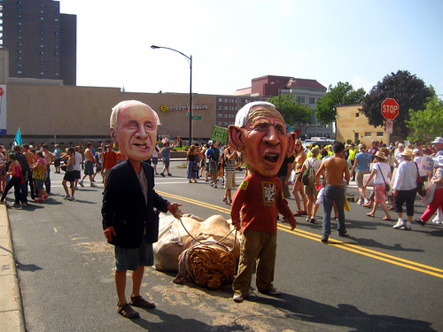 Cheney and Bush drag Lady Liberty