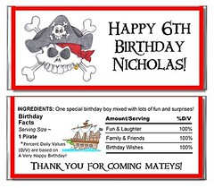 Pirate Birthday Party (Kid's Birthday Parties) Tags: birthday party kids children child candy chocolate pirates pirate wrapper piratesofthecaribbean favors personalized pirateparty candywrapper themeparty partyfavors partytheme piratebirthday personalizedpartyfavors candywrapperfavor chocolatewrapperfavor piratethemebirthday personalizedchocolatewrappers